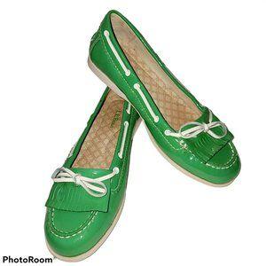 LL Bean Womens Boat Shoes Tassel Bow Green 6.5